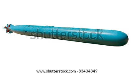 World War II torpedo isolated on a white background - stock photo