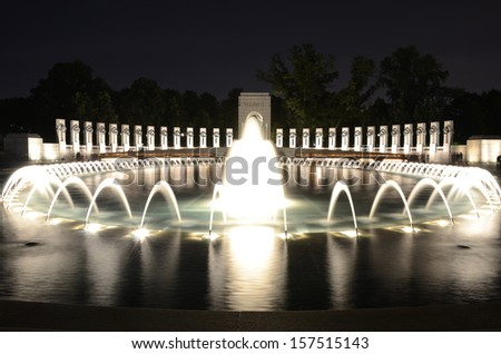 World War Memorial II at Night in Washington,DC USA - stock photo