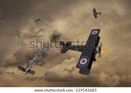 World War One Aircraft in a dogfight. British vs Germans over the battlefields of Europe. (Computer Art) - stock photo
