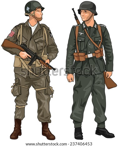 World War Two German and American Soldiers with Weapons Isolated on White Background - stock photo