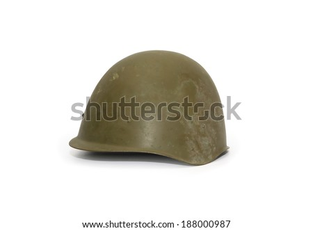 World War Two Soviet military helmet on white background. Clipping path is included - stock photo