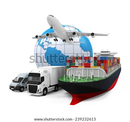 World Wide Cargo Transport Illustration - stock photo