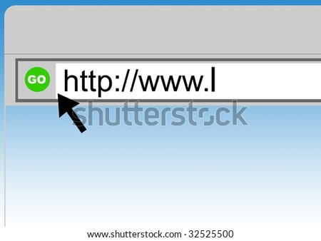 World Wide Web browser background with cursor arrow, green button and copy space. - stock photo