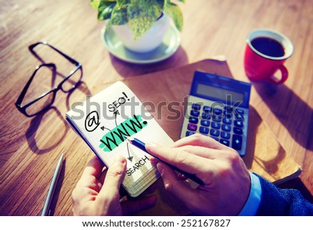 World Wide Web Internet Connection Seo Office Concept - stock photo