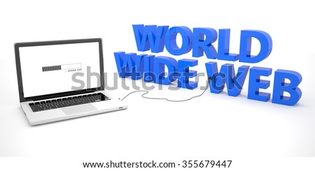 World Wide Web - laptop notebook computer connected to a word on white background. 3d render illustration. - stock photo
