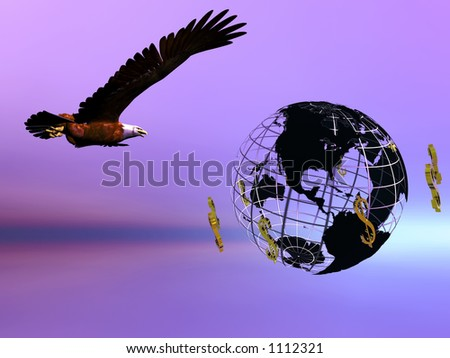 World with circulating dollars,eagle symbol of america flying. Pride, financial concept, copy space. - stock photo