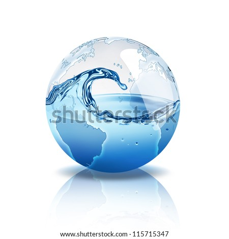 world with water inside - stock photo