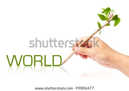 World wording with creative pencil with green tree on white backgorund - stock photo