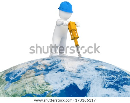 World Worker with jackhammer Elements of this image furnished by NASA - stock photo