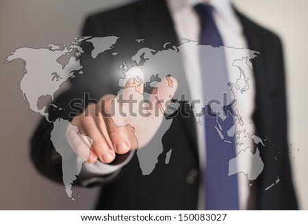 worldwide business and internet technology - stock photo