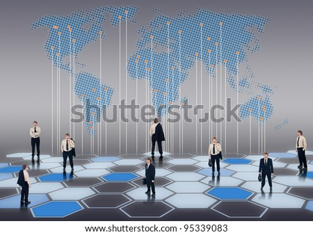 Worldwide business network of businessmen in different positions - stock photo