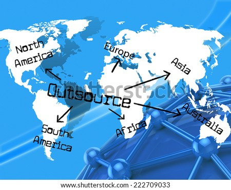 Worldwide Outsource Showing Independent Contractor And Earth - stock photo