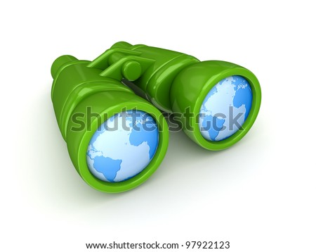 Worldwide search concept.Isolated on white background.3d rendered. - stock photo