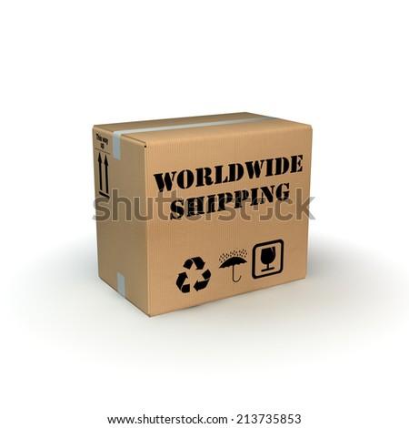 worldwide shipping box - stock photo