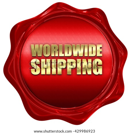 worldwide shipping, 3D rendering, a red wax seal - stock photo