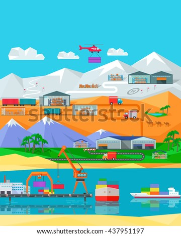 Worldwide warehouse design flat. Logistics container shipping and distribution. Transportation by water in the mountains in the desert and in the snow. Loading and unloading boxes.  illustration - stock photo