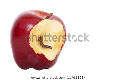worm is coming out of bitten apple - stock photo