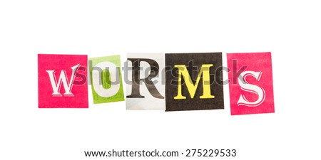 Worms inscription made with cut out letters isolated on white background - stock photo