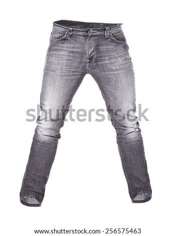 Worn black jeans isolated on white background - stock photo