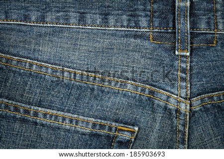 Worn blue denim jeans texture with stitch       - stock photo