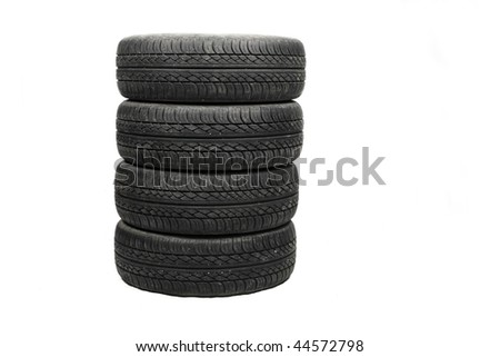 worn old tyre - stock photo