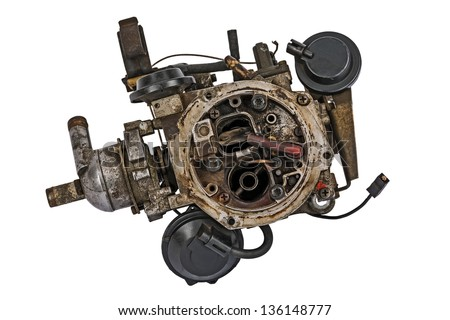 Worn out carburetor from the fuel supply system of gasoline engine - stock photo