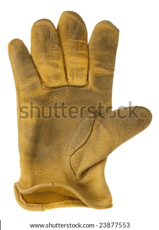 worn out, yellow deer leather, right hand glove, isolated on white - stock photo