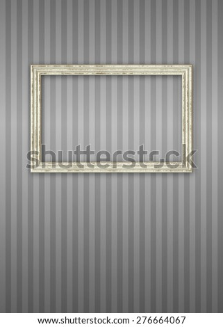 Worn Picture Frame Over Stripped Wallpaper Bitmap Illustration (frame has clipping path) - stock photo