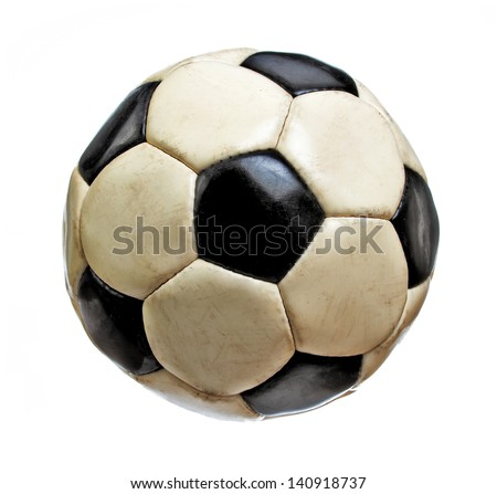 Worn Soccer Ball Isolated on White Background - stock photo