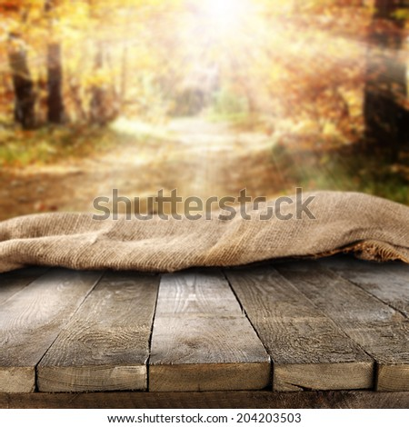 worn table of brown and autumn time  - stock photo