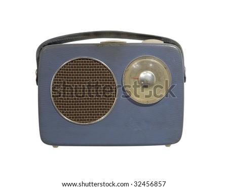 Worn vintage radio isolated towards white background - stock photo