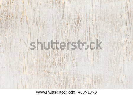 Worn white paint on wood background texture - stock photo