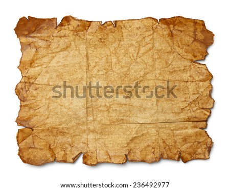 Worn Wrinkled and Ripped Old Brown Paper Isolated on White Background. - stock photo