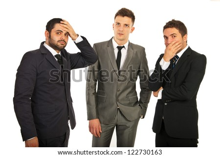 Worried and stressed  group of business men thinking at solutions isolated on white background - stock photo