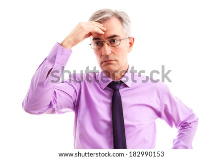 Worried businessman without plans - stock photo