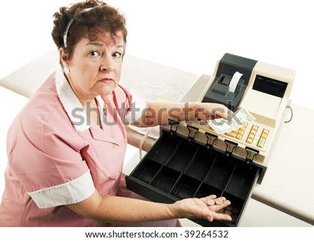 Worried cashier with a nearly empty cash register.  White background. - stock photo