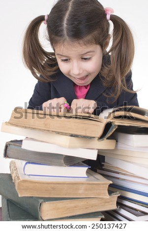 worried little student - stock photo