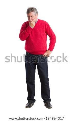 Worried man posing - stock photo