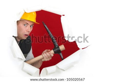 Worried man with ax - stock photo