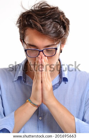 Worry and exhausted young man. - stock photo
