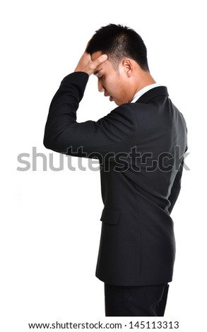worry business man isolated on white background - stock photo