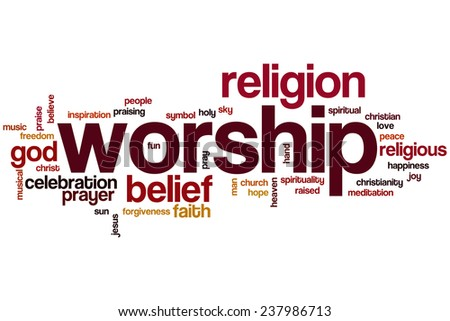 Worship word cloud concept - stock photo