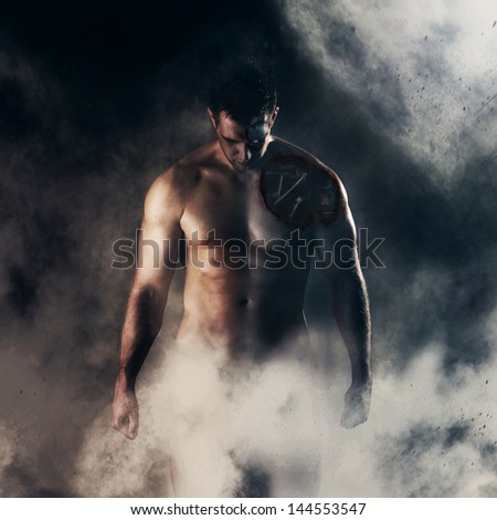 Wounded cyborg standing in a fog - stock photo