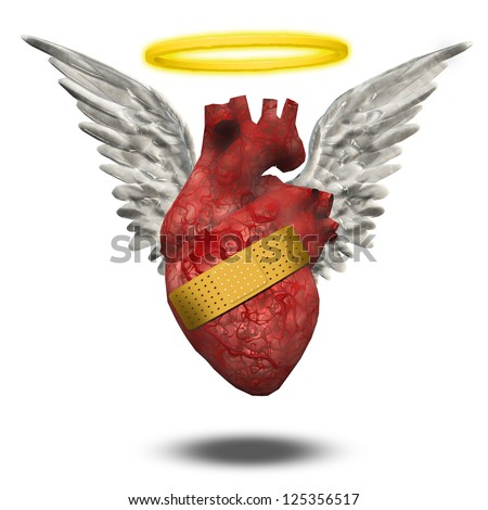 Wounded good heart - stock photo
