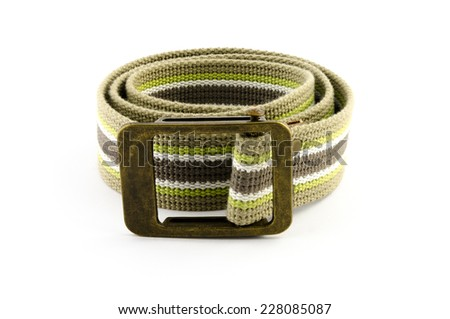 woven belt isolated on white - stock photo
