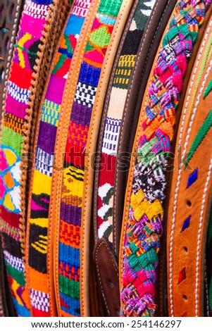 Woven Belts, Chichicastenango, Guatemala, Central America - stock photo