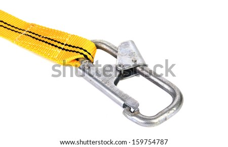 Woven cotton belt and carabiner. Isolated on a white background. - stock photo