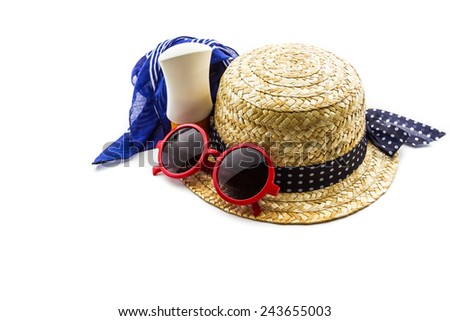 Woven hat, red sunglasses, scarf with body lotion on white background.  - stock photo