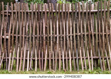 woven of thin rods in the village - stock photo