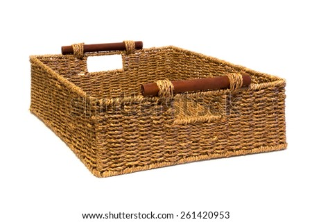 Woven rope basket with handles three quarter view - stock photo